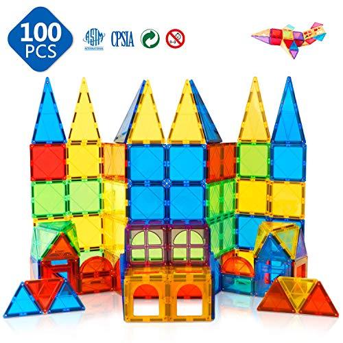 Magblock 100ピースおもちゃマグネットブロック磁気おもちゃ?子供 知育玩具 立体パズル 幼児 に 人気 の おもちゃ 女の子 男の子おもちゃ 誕生日 出産祝い 入園 クリスマスプレゼント収納ケース付き 創造力を育てる知育玩具