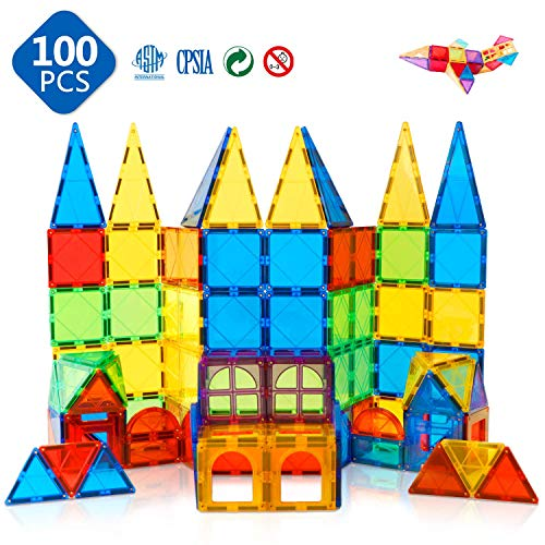 Magnet Toys Kids Magnetic Building Tiles 100 Pcs 3D Magnetic Blocks Preschool Building Sets Educational Toys for Toddlers Boys and Girls