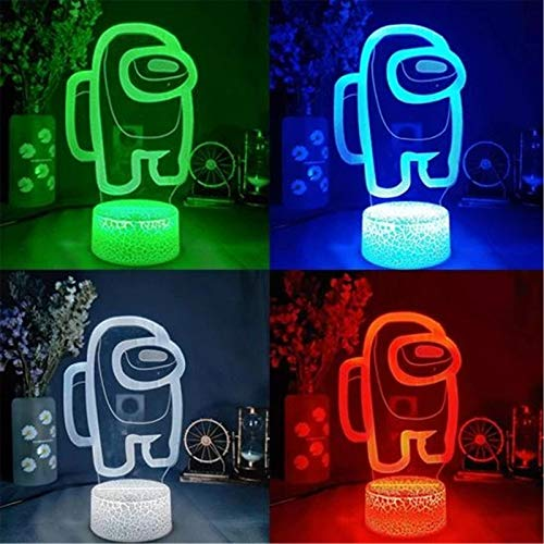 Among Us 3D Illusion Table Lamp - Friends Game Among Us LOGO 3D Illusion Desktop Lamp Coffee Table Decor LED Sensor Lights, USB Powered Lava Lamp Base 16 Color with Remote