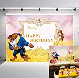BINQOO Belle Party Supplies Happy Birthday Beauty and The Beast Background Photo Props Cartoon Character Pincess Wild Animal for Girl Princess Children Studio Birthday Party 7x5FT