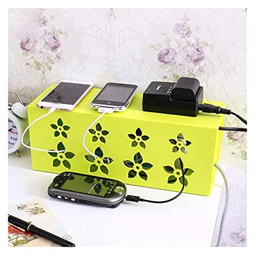 Lzpzz Cajas de gestión de cables, organizador de extensión de cable, ocultar cables de extensión y cables eléctricos, para escritorio, hogar, oficina, cocina (color verde, tamaño: mediano)