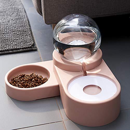 Urijk Trinkbrunnen 2-in-1 Automatisch Wasserbrunnen Tier Futterautomat Futterspender Katzennapf Wassernapf für Katzen und Hunde
