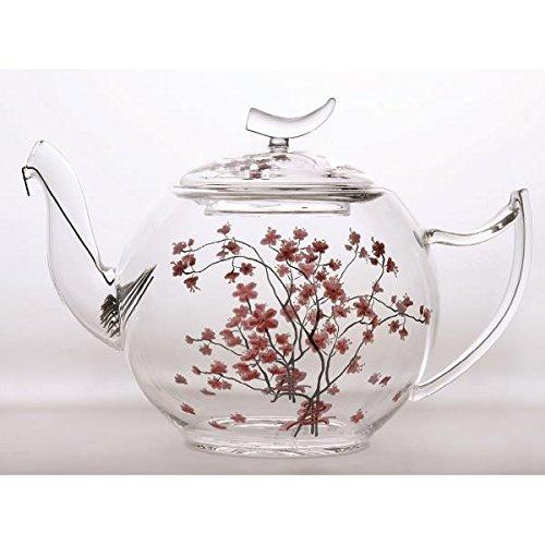 Glaskanne Teekanne aus Glas CHERRY BLOSSOM für 1,2L transparent rosa TeaLogic