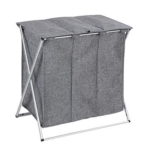 Wenko Trio Top wasmand inhoud 118 l, stof, frame: aluminium, grepen: 100% polyester, grijs, 38 x 57 x 57 cm