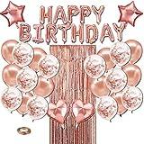 Micacorn Decoración de Fiesta de Cumpleaños Oro Rosa 27 pcs, Globos para Pancarta de Feliz Cumpleaños, Globos de Confeti and Látex, Globos en Forma de Estrella y Corazón, Cortina de Papel de Aluminio