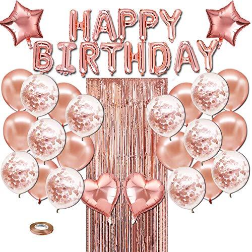 YOUG 40pcs Fiesta de cumpleaños de Oro Rosa Decoraciones, Rose decoración con Globos de Oro, Bandera del Feliz cumpleaños, cumpleaños de la Boda de la Ducha del bebé Ceremonia de Aniversario