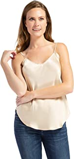 Fishers Finery Women's 100% Pure Mulberry Silk Camisole with Adjustable Straps