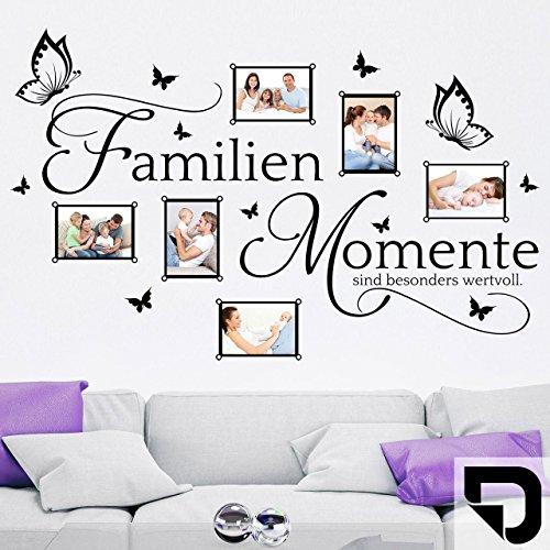 DESIGNSCAPE® Wandtattoo Bilderrahmen Familien Momente sind besonders wertvoll - mit 6 Fotorahmen 140 x 88 cm (Breite x Höhe) schwarz DW807272-L-F4