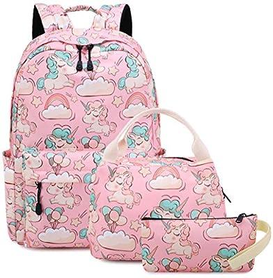 Mochila para niñas Bolso Escolar Unicornio Niños Lindos Ligero Escuela Secundaria Intermedia Bolsas de Libros con Estuche de lápices (3-Rosa 3PC)