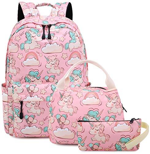 Zaino Sacchetto di scuola delle ragazze Unicorno Simpatico Sacchetto di scuola elementare per bambini medio leggero con custodia per matita (3-Rosa 3PC)