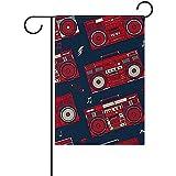 AllenPrint Flag Banners,Retro Pop Boombox Radio 80S Bandera De Jardín Banderas Familiares Divertidas para Decoración De Bienvenida De Jardín