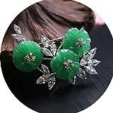 ZHIRCEKE Elegante Broche Pin Jade Zircon Flowers Pin Exquisite Hecho a Mano Regalo de joyería para Navidad Aniversario Día de San Valentín