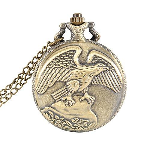 Taschenuhr – Dxlta Vendimia Adler Flügel Taschenuhr Quarz Halskette Schmuck bronze