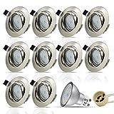 HiBay® LED Einbaustrahler Edelstahl gebürstet Schwenkbar Inkl. 10 x 5W Leuchtmittel Naturalweiß 230V GU10 IP20 LED Einbauleuchte Deckenspot Einbauspot