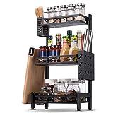 Organisateur de support d'épices, organisateur d'étagère d'armoire de cuisine, support de rangement amovible facile avec porte-couteau, support de planche à découper et porte-couverts (3 niveaux)