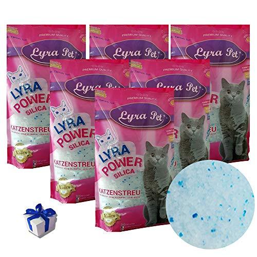 Lyra Pet® 6 x 5 L = 30 L Lyra Power Silikat Katzenstreu Cat staubfrei + Geschenk