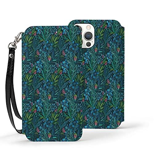 Funda para iPhone 12,Funda Tipo Cartera para iPhone 12 con Tarjetero,Botanical Vibes. Flora,Cubierta Protectora Interior a Prueba de Golpes de TPU para iPhone 12 6.1 Pulgadas