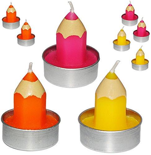 12 TLG. Set _ Teelichter / kleine Kerzen -  bunter Stift - PINK / ROSA  - 5 cm hoch - Schuleinführung / Geburtstagskerzen - Stifte - Schulanfänger - Tischke..