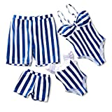 IFFEI Family Matching Swimwear One Piece Bathing Suit Striped Hollow Out Monokini Mommy and Me Beachwear Men: XL Blue