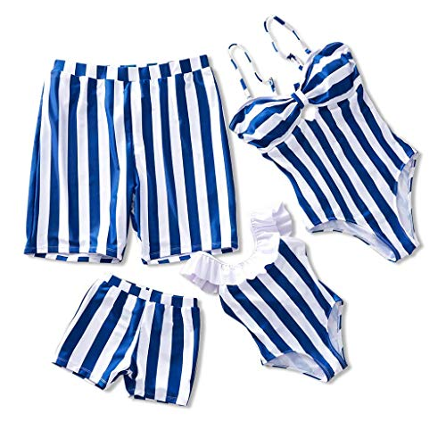 IFFEI Family Matching Swimwear One Piece Bathing Suit Striped Hollow Out Monokini Mommy and Me Beachwear Boys: 6-7 Years Blue