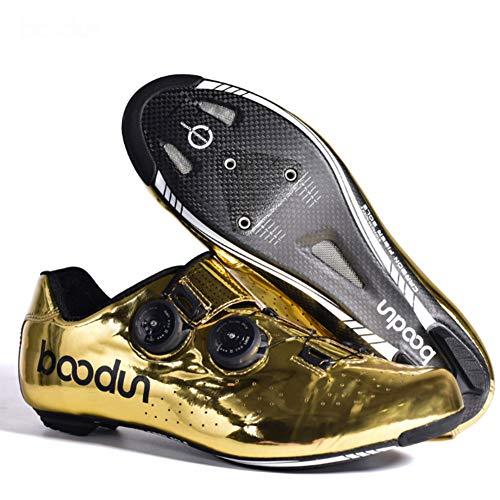 Ur HQCC Zapatos de Ciclismo de Fibra de Carbono Dorado Zapatos de Bicicleta de Carretera Zapatillas de Ciclismo de Carreras con Hebilla de Zapato Doble Rotación, Orificio de Bloqueo de Zapato, 39