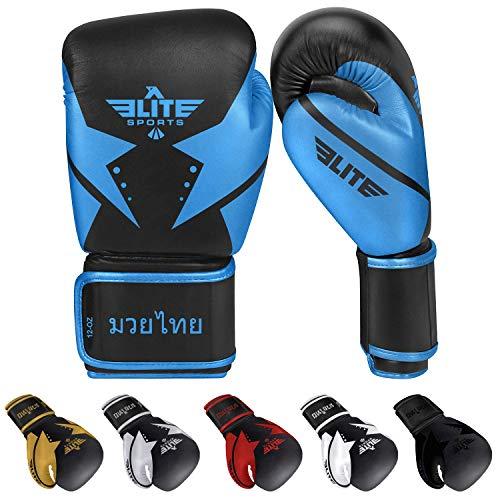 Elite Sports 2020 Muay Thai Gloves, Men's, Women's Best Kickboxing Pair of Breathable Gloves (Blue, 16 oz)