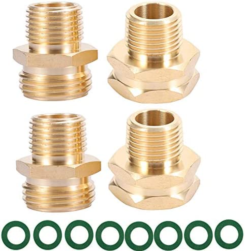 ZKZX Garden Hose Adapter 3 4 GHT Male x 1 2 NPT Male Connector with 3 4 GHT Female x 1 2 NPT product image