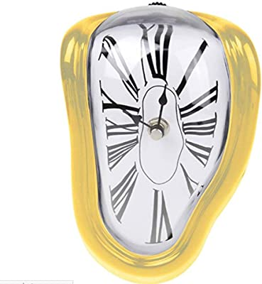 WEIWEI Creative Twisted Wall Clock, Childrens Bedroom Melting Clock-B