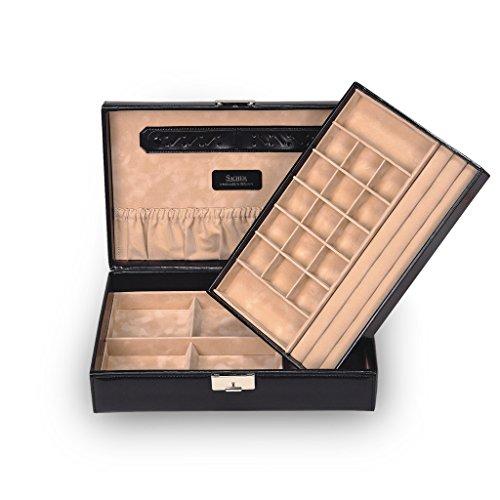 SACHER Schmuckkassette Isa/New Classic/schwarz/Leder/Handmade in Germany/Schmuckaufbewahrung