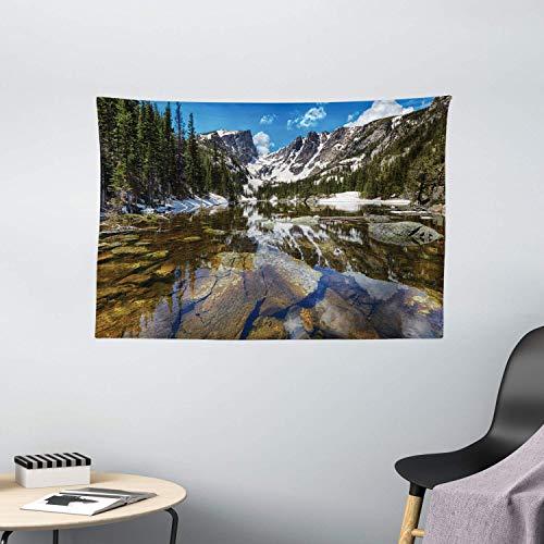 Tapiz de Pared Tapestry Paisaje tapiz sueño espejo lago en el parque de la montaña en West America River Snow Print Tapestries 80 * 60inch