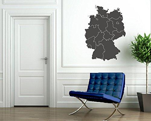 Wandtattoo Deutschlandkarte in verschiedenen Größen und Farben (40 x 54 cm, dunkelgrau)