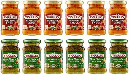 Testpaket Star Tigullio Pesto alla Genovese mit basilikum - Pesto Peperoni e Noci mit Pfeffer und Walnüssen Sauce Soße ( 12 x 190g ) würzsaucen