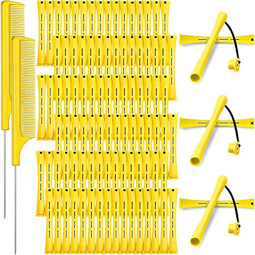 96 Pieces Hair Perm Rods, Cold Wave Rods Plastic Perming Rods Heatless Curlers Rollers with 2 Steel Pintail Comb Rat Tail Comb for Hairdressing Styling Tools (Yellow, 0.28 Inch/ 0.7 cm)