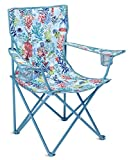 Vera Bradley Portable Folding Chair with Cup Holders and Matching Cover, Blue Outdoor Lawn Chair Holds Up to 225 Pounds, Shore Thing