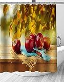 YEDL Roter Apfel Duschvorhang Obst Moderner Stoff Badvorhänge Wohnkultur Gardinen 180 × 180Cm