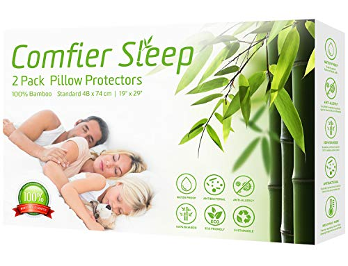 Comfier Sleep Waterproof Pillow Protectors 48x74cm with Zip Anti Allergy Triple Layer Super Soft and 100% bamboo Pack of 2 Standard Size 48 x 74 cm suitable for Standard Pillows