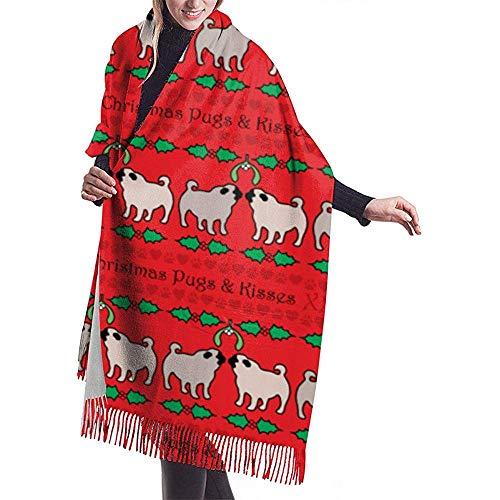 Cathycathy Weihnachten Möpse Küsse Geschenkpapier Schal wickeln Winter warme Schal Cape große weiche Schal wickeln