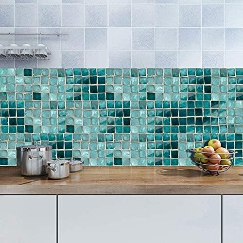aipipl 25 unids/Set de Pegatinas de Azulejos para decoración del hogar, Cocina, baño, Pegatinas de Azulejos, Pegatinas de Azulejos de Pared de Suelo Verde Impermeable, Artes 25 20cm