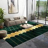 Tinta de Oro Verde Alfombra de Pelo Corto para terraza de balcón Pasarela Dormitorio, Alfombra de Sala de Estar, 100X200cm (39X79inch)