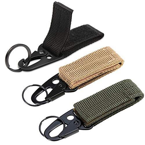 Floatdream 3 Stück Duty Belt Keeper, Taktischer Hängender Gürtel Karabiner, Gürtel Karabiner aus Nylon Gürtel Keeper, für Camping, Wandern(3 Farben)