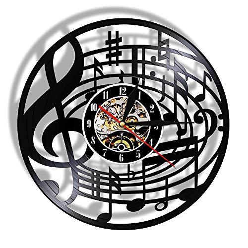 30 cm Notas musicales Arte de la pared Clave de sol Disco de vinilo Reloj de pared Colgante Arte de partituras Reloj vintage Rock n Roll Regalo de amante de la música Regalos para el día de la madre