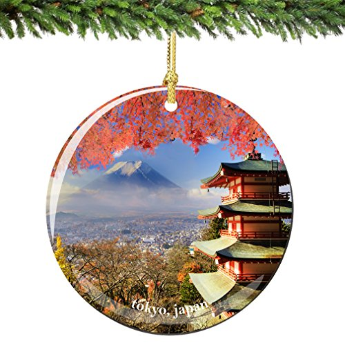 City-Souvenirs Tokyo Japan Christmas Ornament Porcelain 2.75' Double Sided with Pagoda