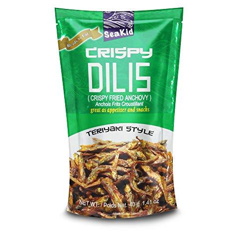Seakid Crispy Dilis Teriyaki Style - Fried Anchovy Nutricious Snack 1.41oz (40g), 3 Packs