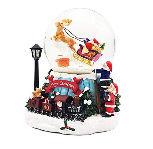 Wichtelstube-Kollektion XL LED Schneekugel Weihnachten elektrischer Schneewirbel, viele Melodien und Farbwechsel Glitzerkugel