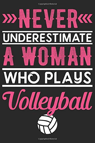 Never Underestimate a Woman Who Plays Volleyball: Lined Journal Notebook with Eye Catching Cover for Volleyball Playing Women: Best Gift for Women Who Plays Volleyball