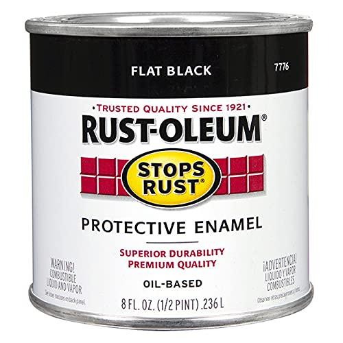 Rust-Oleum 7776730 Protective Enamel Paint, 8-Ounce, Flat Black