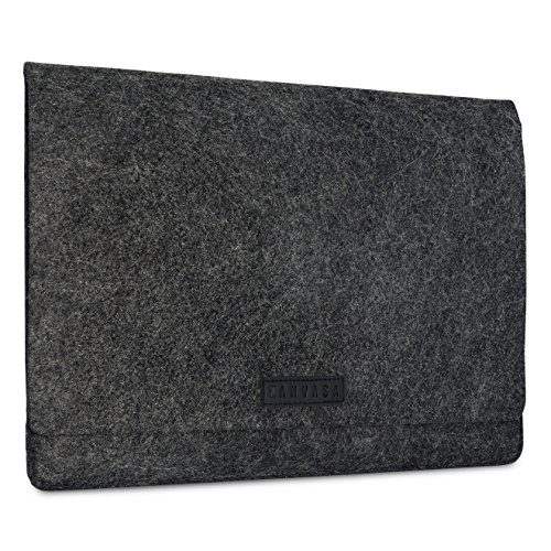 KANVASA Funda Ordenador 11-11.6 y 12 Pulgadas Fieltro para Nuevo MacBook Air (2018) MacBook Pro 13 Surface Pro 3 y 4 MacBook 12' DELL XPS 13 más - Bolso Portatil Estuche Antracita con Piel Negro