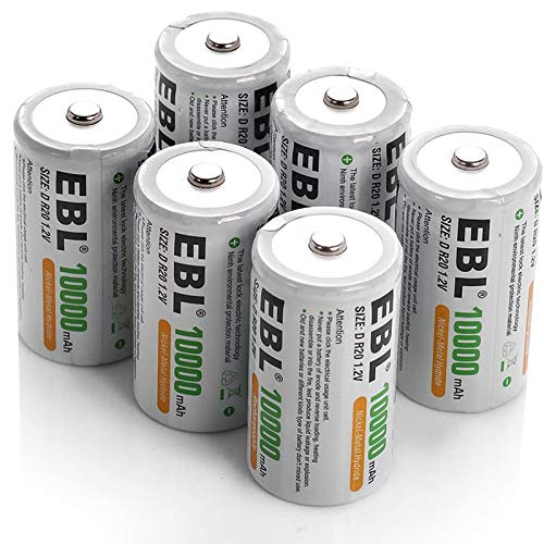 EBL D Battery D Size Rechargeable Batteries 10,000mAh Ni-MH, Pack of 6 - ProCyco Technology