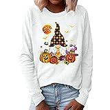 Manga larga Halloween camisa mujeres Y2k dibujos animados suelta blusa sudadera vintage Streetwear 70s 90s trajes otoño, Blanco Estilo 3, XL