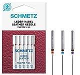 SCHMETZ Agujas para máquina de coser: 5 agujas de piel, grosor de aguja 80/12-100/16, kit de costura, 130/705 H LL, se puede utilizar en cualquier máquina de coser doméstica, adecuado para coser cuero